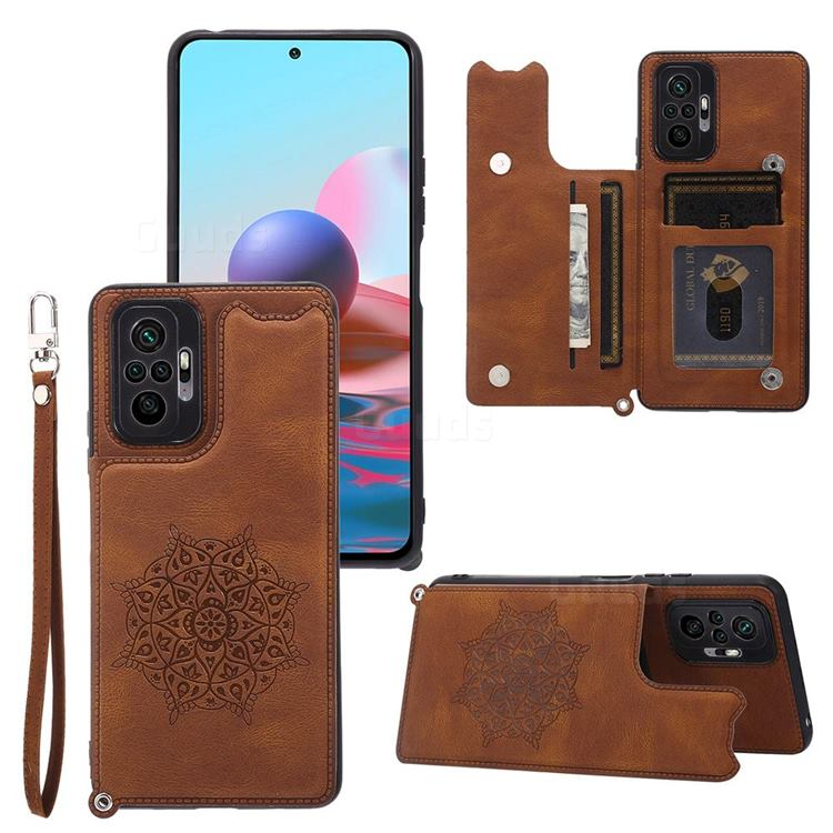 Luxury Mandala Multi-function Magnetic Card Slots Stand Leather Back Cover for Xiaomi Redmi Note 10 Pro / Note 10 Pro Max - Brown