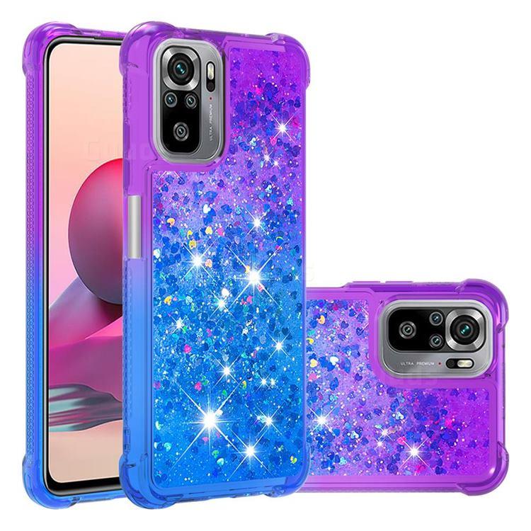 Rainbow Gradient Liquid Glitter Quicksand Sequins Phone Case for Xiaomi Redmi Note 10 4G / Redmi Note 10S - Purple Blue