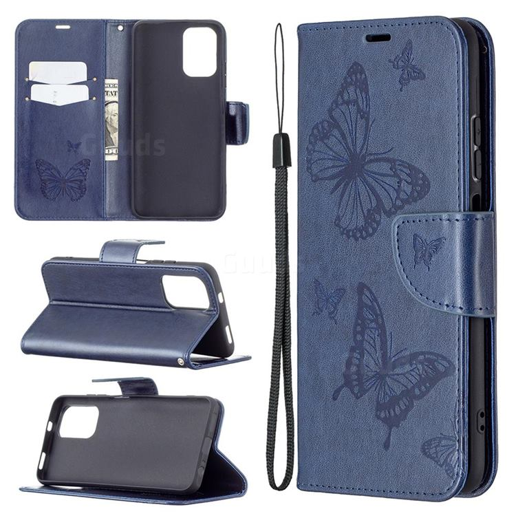 Embossing Double Butterfly Leather Wallet Case for Xiaomi Redmi Note 10 4G / Redmi Note 10S - Dark Blue