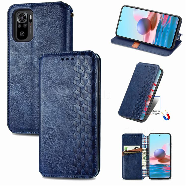 Ultra Slim Fashion Business Card Magnetic Automatic Suction Leather Flip Cover for Xiaomi Redmi Note 10 4G / Redmi Note 10S - Dark Blue