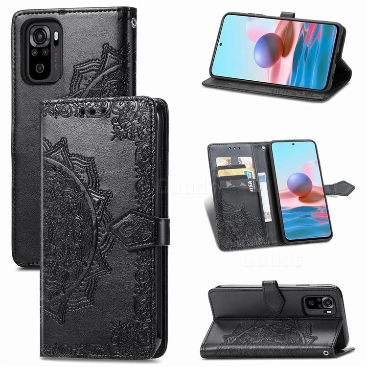 Embossing Imprint Mandala Flower Leather Wallet Case for Xiaomi Redmi Note 10 4G / Redmi Note 10S - Black
