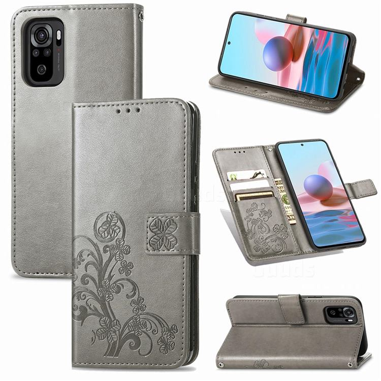 Embossing Imprint Four-Leaf Clover Leather Wallet Case for Xiaomi Redmi Note 10 4G / Redmi Note 10S - Grey