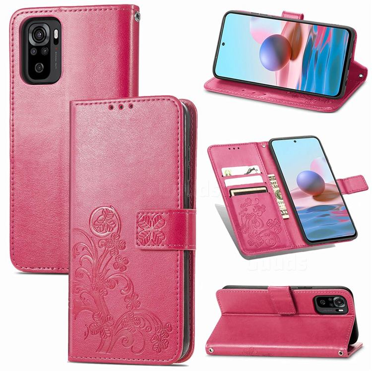 Embossing Imprint Four-Leaf Clover Leather Wallet Case for Xiaomi Redmi Note 10 4G / Redmi Note 10S - Rose Red