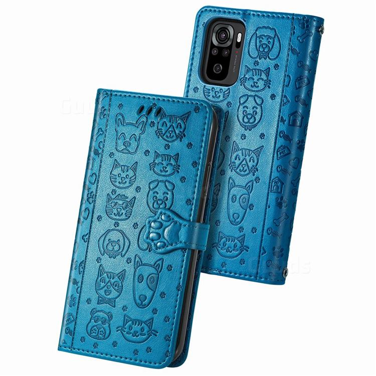 Embossing Dog Paw Kitten and Puppy Leather Wallet Case for Xiaomi Redmi Note 10 4G / Redmi Note 10S - Blue