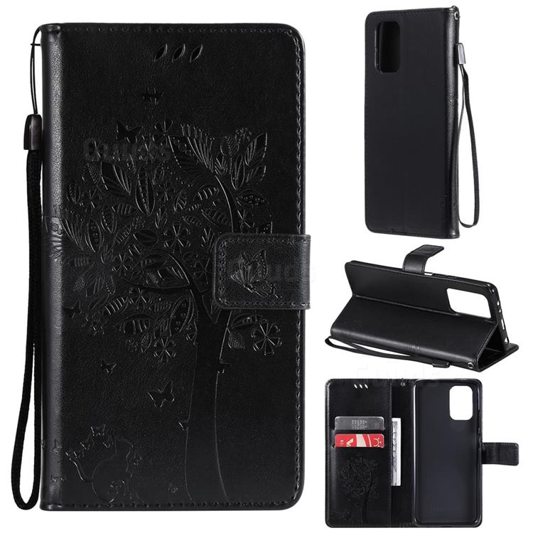 Embossing Butterfly Tree Leather Wallet Case for Xiaomi Redmi Note 10 4G / Redmi Note 10S - Black