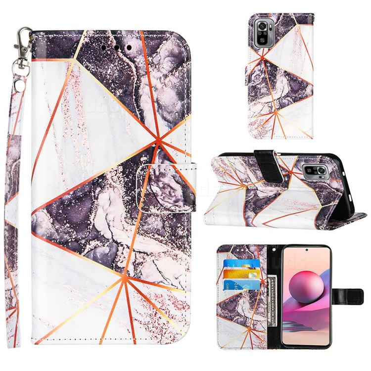 Black and White Stitching Color Marble Leather Wallet Case for Xiaomi Redmi Note 10 4G / Redmi Note 10S
