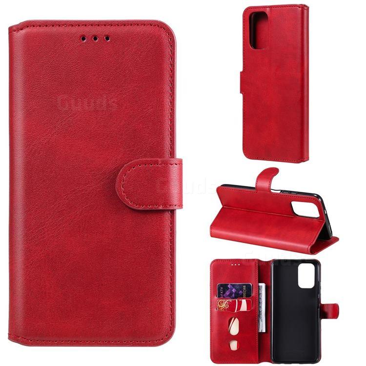 Retro Calf Matte Leather Wallet Phone Case for Xiaomi Redmi Note 10 4G / Redmi Note 10S - Red