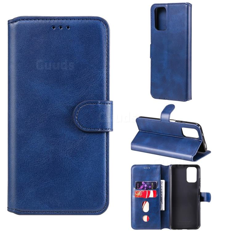Retro Calf Matte Leather Wallet Phone Case for Xiaomi Redmi Note 10 4G / Redmi Note 10S - Blue