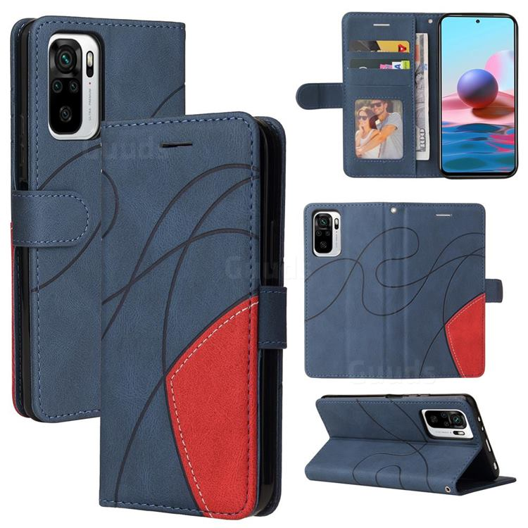 Luxury Two-color Stitching Leather Wallet Case Cover for Xiaomi Redmi Note 10 4G / Redmi Note 10S - Blue