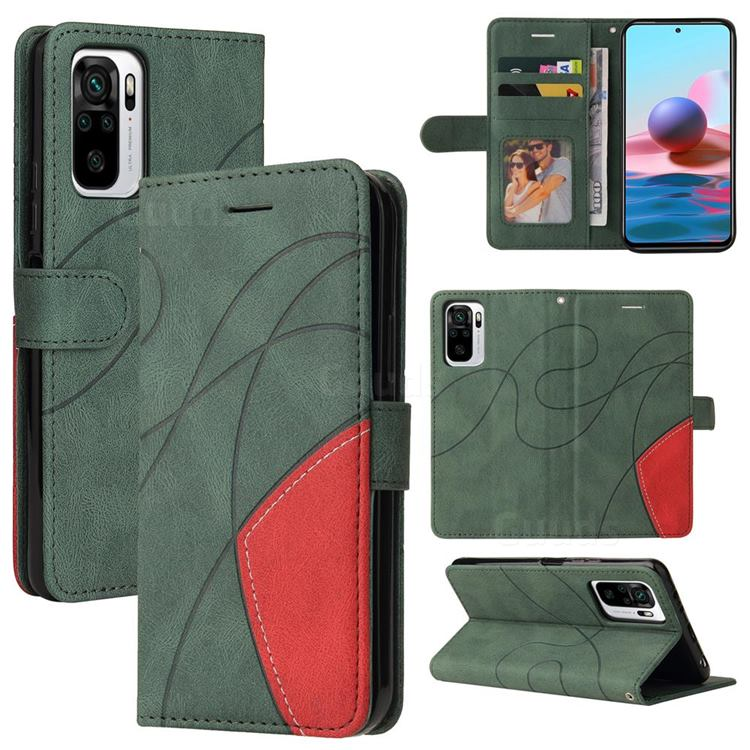 Luxury Two-color Stitching Leather Wallet Case Cover for Xiaomi Redmi Note 10 4G / Redmi Note 10S - Green