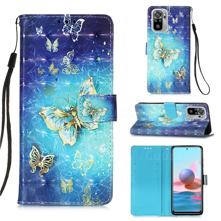 Gold Butterfly 3D Painted Leather Wallet Case for Xiaomi Redmi Note 10 4G / Redmi Note 10S