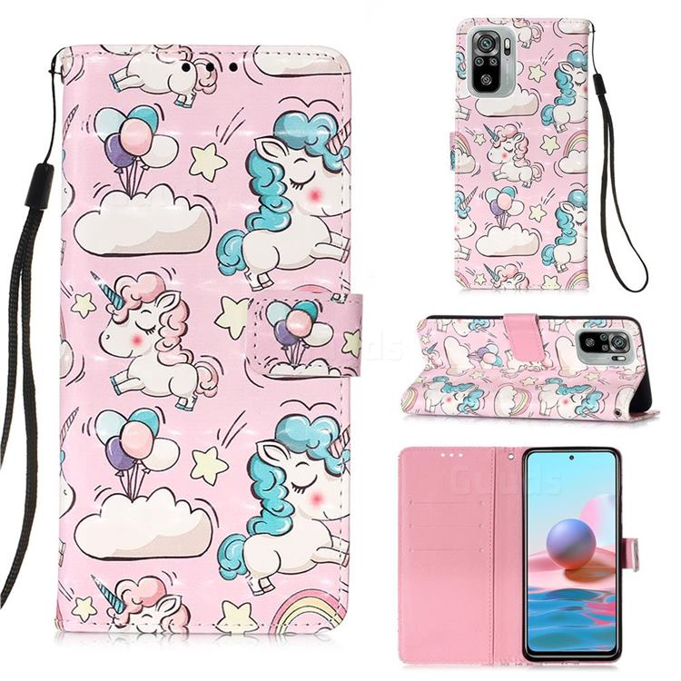 Angel Pony 3D Painted Leather Wallet Case for Xiaomi Redmi Note 10 4G / Redmi Note 10S