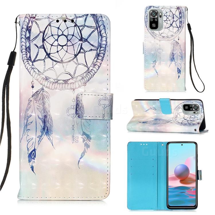 Fantasy Campanula 3D Painted Leather Wallet Case for Xiaomi Redmi Note 10 4G / Redmi Note 10S