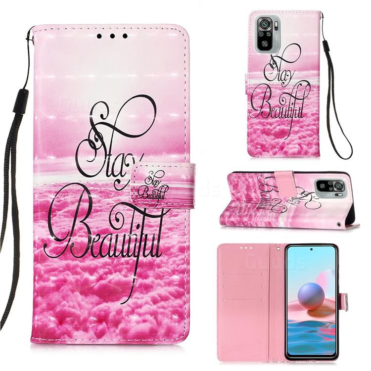 Beautiful 3D Painted Leather Wallet Case for Xiaomi Redmi Note 10 4G / Redmi Note 10S