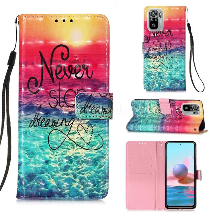 Colorful Dream Catcher 3D Painted Leather Wallet Case for Xiaomi Redmi Note 10 4G / Redmi Note 10S