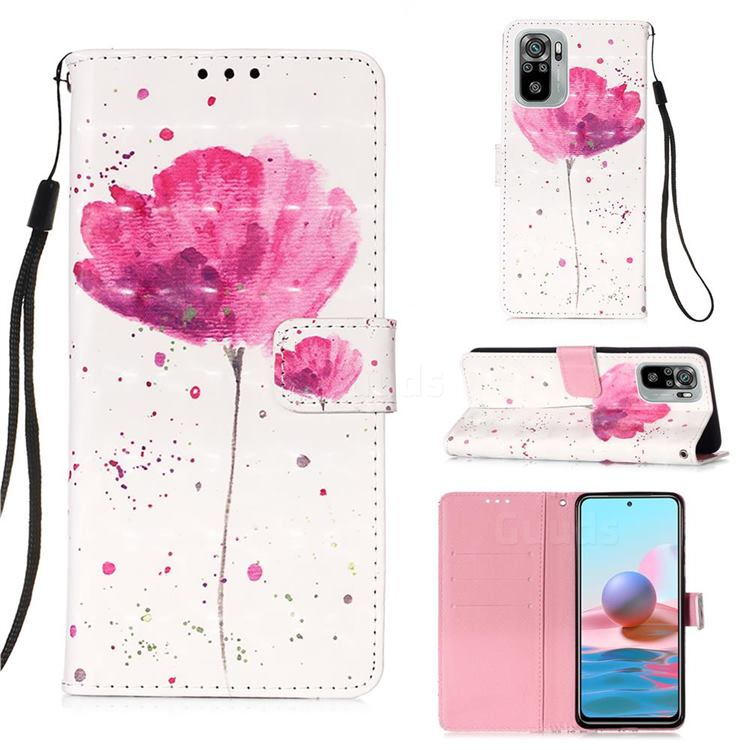 Watercolor 3D Painted Leather Wallet Case for Xiaomi Redmi Note 10 4G / Redmi Note 10S