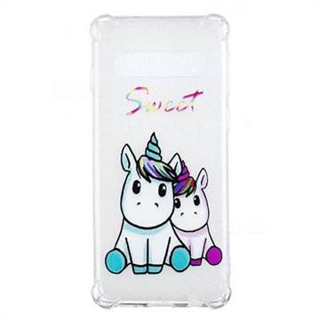 Sweet Unicorn Anti-fall Clear Varnish Soft TPU Back Cover for Samsung Galaxy S10 (6.1 inch)