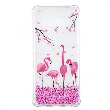 Cherry Flamingo Anti-fall Clear Varnish Soft TPU Back Cover for Samsung Galaxy S10 (6.1 inch)