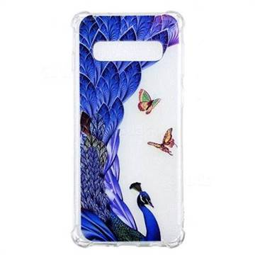 Peacock Butterfly Anti-fall Clear Varnish Soft TPU Back Cover for Samsung Galaxy S10 (6.1 inch)
