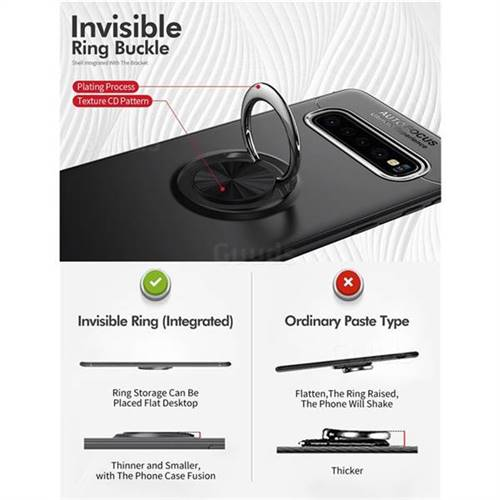 Auto Focus Invisible Ring Holder Soft Phone Case for Samsung Galaxy S10  (6 1 inch) - Black