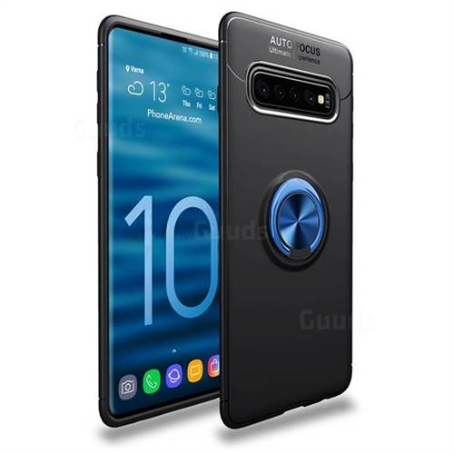 Auto Focus Invisible Ring Holder Soft Phone Case for Samsung Galaxy S10 (6.1 inch) - Black Blue