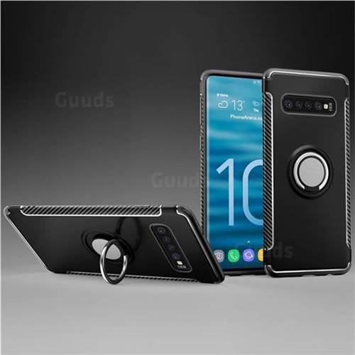 Armor Anti Drop Carbon PC + Silicon Invisible Ring Holder Phone Case for Samsung Galaxy S10 (6.1 inch) - Black