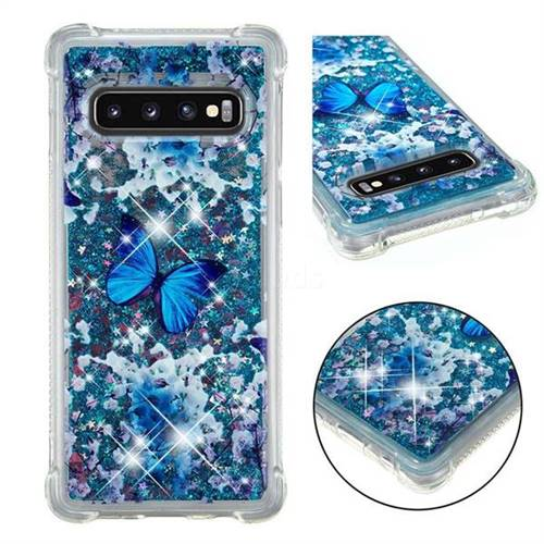 Flower Butterfly Dynamic Liquid Glitter Sand Quicksand Star TPU Case for Samsung Galaxy S10 (6.1 inch)