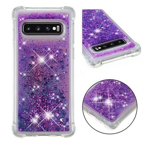 Dynamic Liquid Glitter Sand Quicksand Star TPU Case for Samsung Galaxy S10 (6.1 inch) - Purple