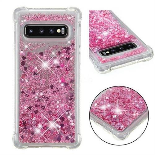 Dynamic Liquid Glitter Sand Quicksand Star TPU Case for Samsung Galaxy S10 (6.1 inch) - Diamond Rose