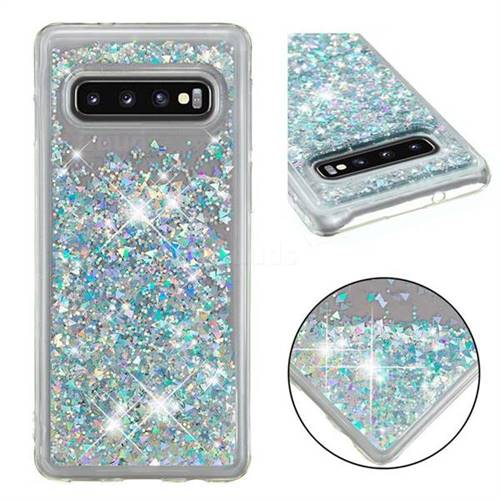 Dynamic Liquid Glitter Quicksand Sequins TPU Phone Case for Samsung Galaxy S10 (6.1 inch) - Silver