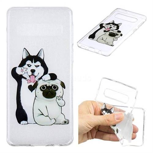 Selfie Dog Clear Varnish Soft Phone Back Cover for Samsung Galaxy S10 (6.1 inch)