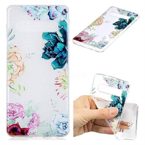 Gem Flower Clear Varnish Soft Phone Back Cover for Samsung Galaxy S10 (6.1 inch)