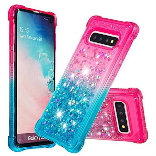 Rainbow Gradient Liquid Glitter Quicksand Sequins Phone Case for Samsung Galaxy S10 (6.1 inch) - Pink Blue
