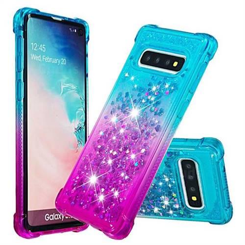 Rainbow Gradient Liquid Glitter Quicksand Sequins Phone Case for Samsung Galaxy S10 (6.1 inch) - Blue Purple