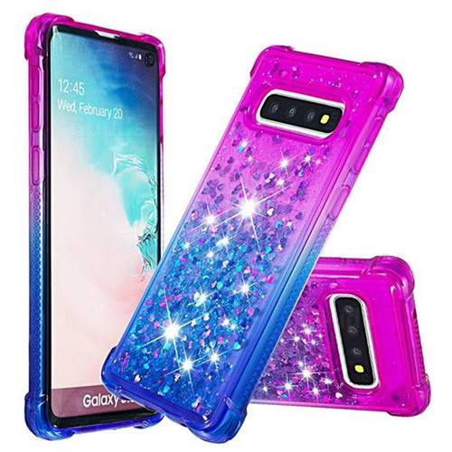 Rainbow Gradient Liquid Glitter Quicksand Sequins Phone Case for Samsung Galaxy S10 (6.1 inch) - Purple Blue