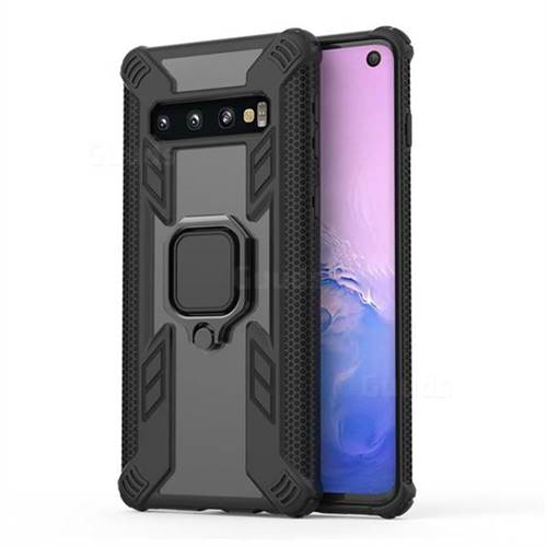 Predator Armor Metal Ring Grip Shockproof Dual Layer Rugged Hard Cover for Samsung Galaxy S10 (6.1 inch) - Black