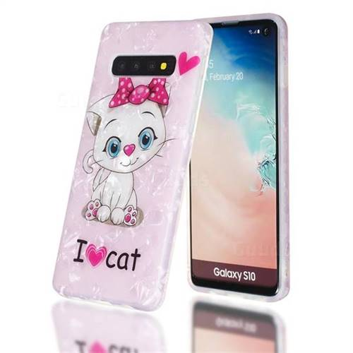 I Love Cat Shell Pattern Clear Bumper Glossy Rubber Silicone Phone Case for Samsung Galaxy S10 (6.1 inch)