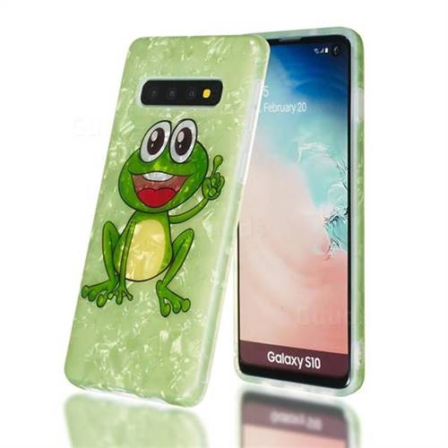 Smile Frog Shell Pattern Clear Bumper Glossy Rubber Silicone Phone Case for Samsung Galaxy S10 (6.1 inch)