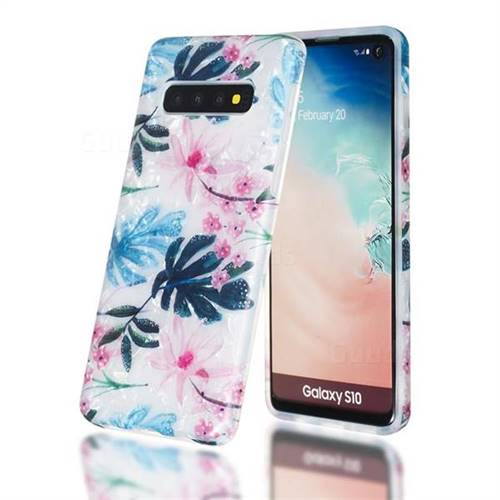 Flowers and Leaves Shell Pattern Clear Bumper Glossy Rubber Silicone Phone Case for Samsung Galaxy S10 (6.1 inch)
