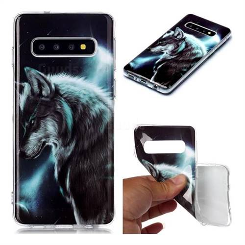 Fierce Wolf Soft TPU Cell Phone Back Cover for Samsung Galaxy S10 (6.1 inch)