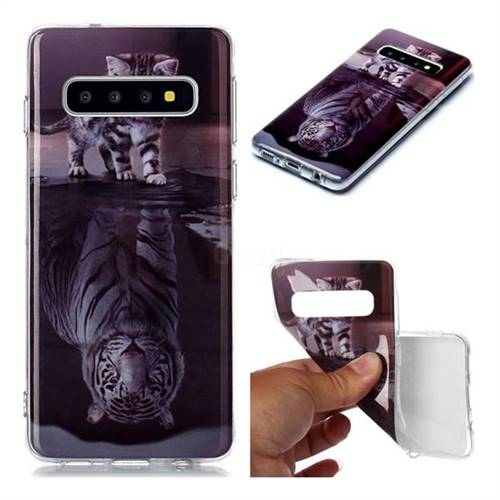 Cat and Tiger Soft TPU Cell Phone Back Cover for Samsung Galaxy S10 (6.1 inch)