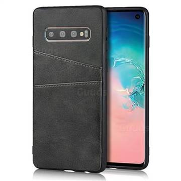 Simple Calf Card Slots Mobile Phone Back Cover for Samsung Galaxy S10 (6.1 inch) - Black