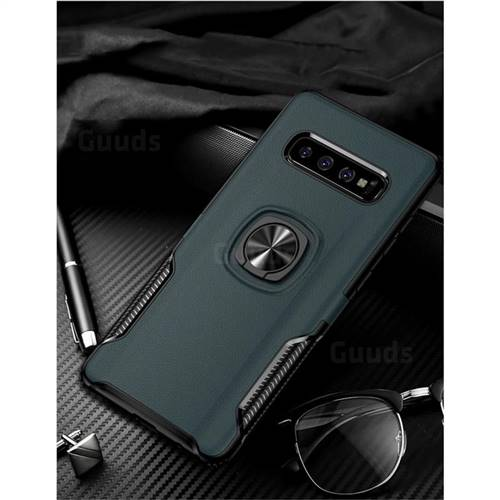 Knight Armor Anti Drop PC + Silicone Invisible Ring Holder Phone Cover for Samsung Galaxy S10 (6.1 inch) - Navy