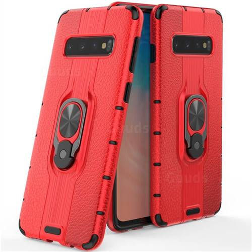 Alita Battle Angel Armor Metal Ring Grip Shockproof Dual Layer Rugged Hard Cover for Samsung Galaxy S10 (6.1 inch) - Red