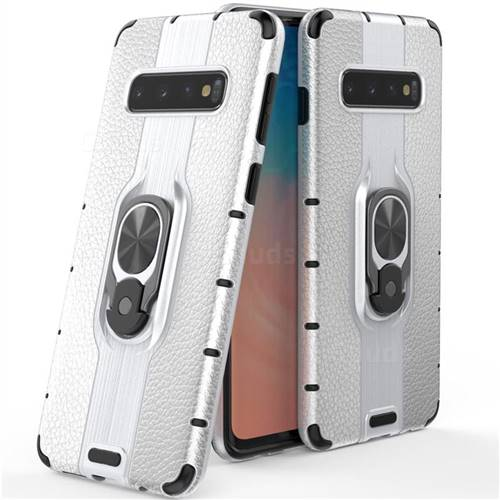 Alita Battle Angel Armor Metal Ring Grip Shockproof Dual Layer Rugged Hard Cover for Samsung Galaxy S10 (6.1 inch) - Silver