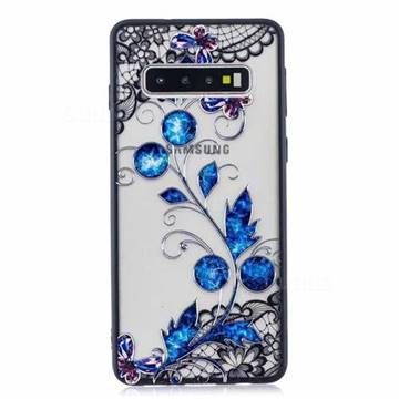 Butterfly Lace Diamond Flower Soft TPU Back Cover for Samsung Galaxy S10 (6.1 inch)