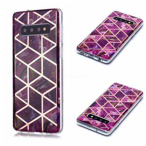 Purple Rhombus Galvanized Rose Gold Marble Phone Back Cover for Samsung Galaxy S10 (6.1 inch)