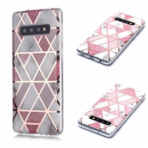 Pink Rhombus Galvanized Rose Gold Marble Phone Back Cover for Samsung Galaxy S10 (6.1 inch)