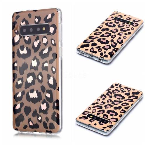 Leopard Galvanized Rose Gold Marble Phone Back Cover for Samsung Galaxy S10 (6.1 inch)