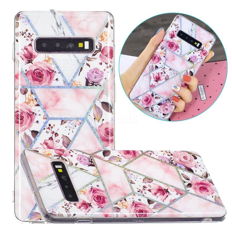 Rose Flower Painted Galvanized Electroplating Soft Phone Case Cover for Samsung Galaxy S10 (6.1 inch)